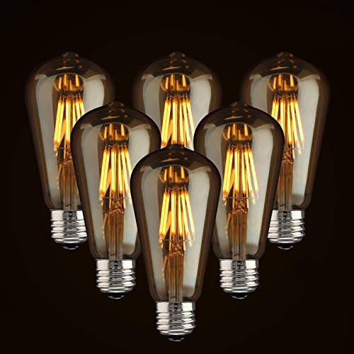 LED Dimmable Vintage Edison Led Bulbs 6W Antique Style Edison Light Bulbs, 2300K Warm White (Amber Gold Glass), Squarrel Cage Filament Vintage Light Bulb,ST64, E26 Base (2300K-6W-6PCS)
