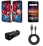 ZTE Blade Vantage | ZTE Avid 4 | ZTE Tempo X - Bundle: Synthetic Leather Wallet Carrying [Card Slots] Case - (Butterfly Symphony), Screen Protector, 18W QC 3.0 Car Charger, Micro USB Cable, Atom Cloth