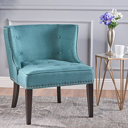 Christopher Knight Home Aria Occasional Chair Wing Back Nail Head Accents Button Tufted Corded Fabric in Dark Teal (Pieces Teal Accent)