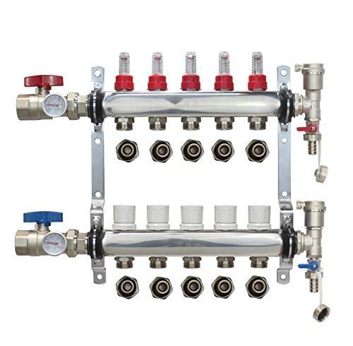 5-Branch PEX Manifold Radiant Floor Heating Set Stainless Steel with 1/2