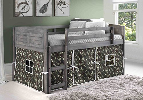 - DONCO KIDS 790AAG_750C-TC Louver Low Loft Bed with Camo Tent, Twin, Antique Grey