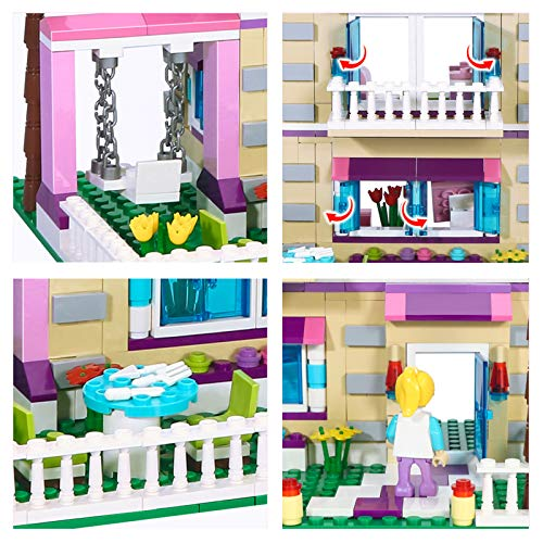 BRICK STORY Girls Friends House Building Kit with 4 Mini People, Big Villa Building Blocks Set with a Convertible Car Toy for Kids Aged 8 and Up, 892 PCS