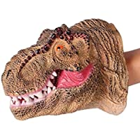 Birthday Popper T-Rex Dinosaur Hand Puppet for Kids Adults, Soft Rubber Dino Hand Puppet, Realistic Role Play Toy Halloween Gift