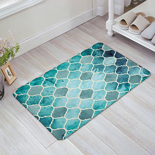 - OneHoney Classic Modern Vintage Chic Aqua Moroccan Quatrefoil Kitchen Bathroom Soft Durable Accent Rug Small Carpet Mat 20 x 31.5 inch