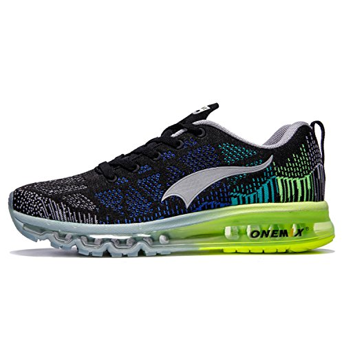 OneMix Men's Lightweight Air Cushion Sport Running Shoes,Zapatillas de Running para Hombre Deporte y Aire Libre de Malla Transpirables Black Gray Green