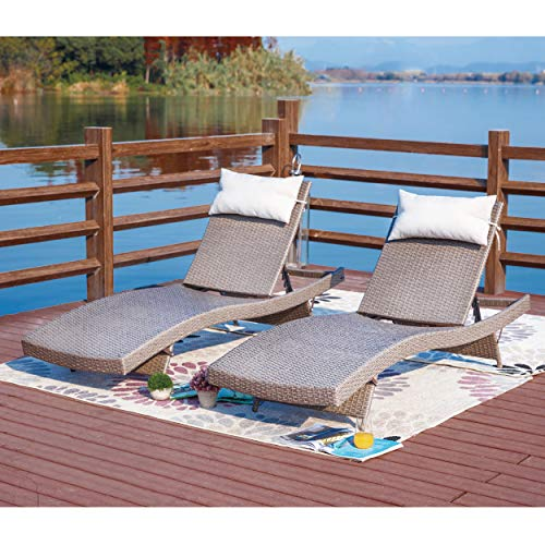- LOKATSE HOME Outdoor Patio Chaise Lounge Set of 2 Adjustable Wicker Chairs Furniture, Brown