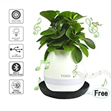 Smart Flowerpot Touch Plant Playing Music Plant Pot With Wireless Rechargable Led Night Light Lamp Bluetooth Speaker(10 Song Without Plants)By Lamaston (white)