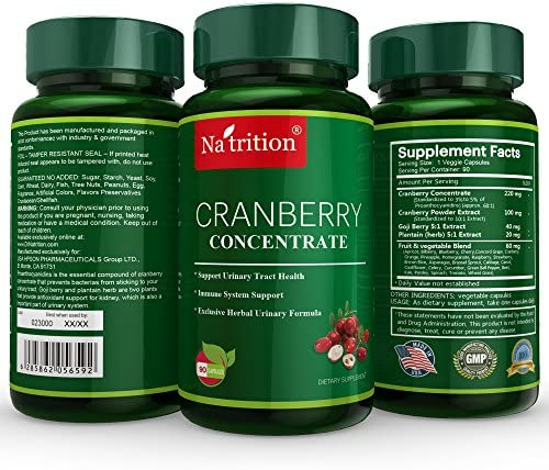 Natrition Cranberry Medical-Grade Supplement Equals 25000 Cranberries, Herbals Blend. Prostate Gland, Kidney Cleanse Yeast Infection -90 Veggie-Caps