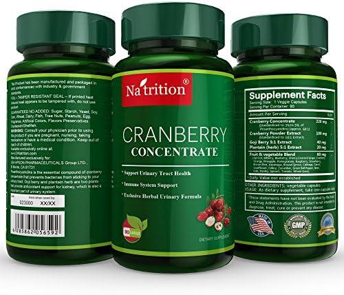 Natrition Cranberry Medical-Grade Supplement Equals 25000 Cranberrie