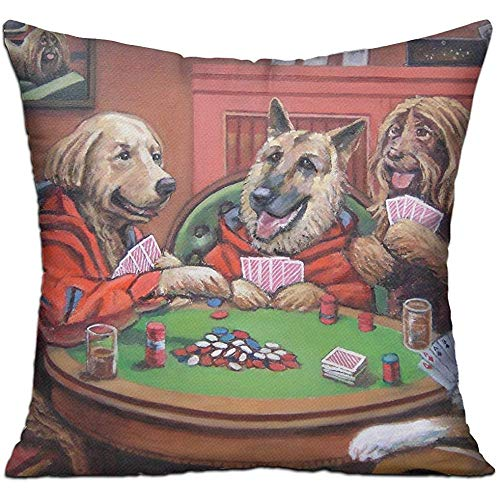 Dog Play Poker (Jubenlcai Funny Play Poker A Dog Throw Pillow Cover Decorative Pillow Case Square Cushion Home 18x18 Inch)