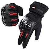 Motorcycle Gloves|Coral Velvet, Fxexblin Touch Screen Winter Gloves Windproof Coldproof Waterproof Outdoor Gloves for Men and Women-One Size Fits All