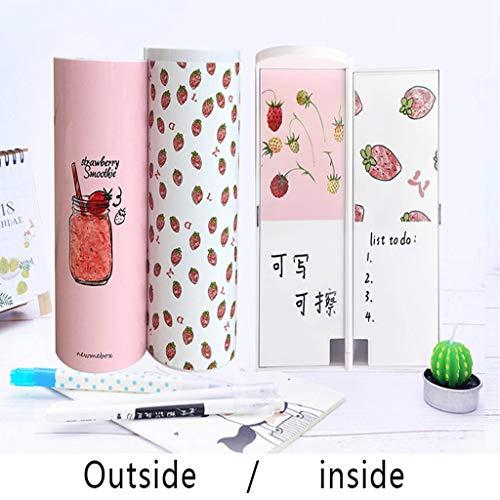 EALAMEI Pencil case 2019 New Creative Whiteboard Pencil Case with Solar Calculator Magnetic Switch Kawai Cartoon Pen Box School Writing case,Strawberry(Hot)