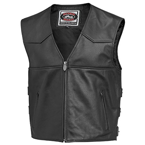 River Road Plains Leather Vest - 46/Black