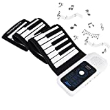 Uarter 61 Keys Roll Up Piano Electronic Flexible Keyboard Piano Plastic Folding Keyboard Pianos for Children and Adults