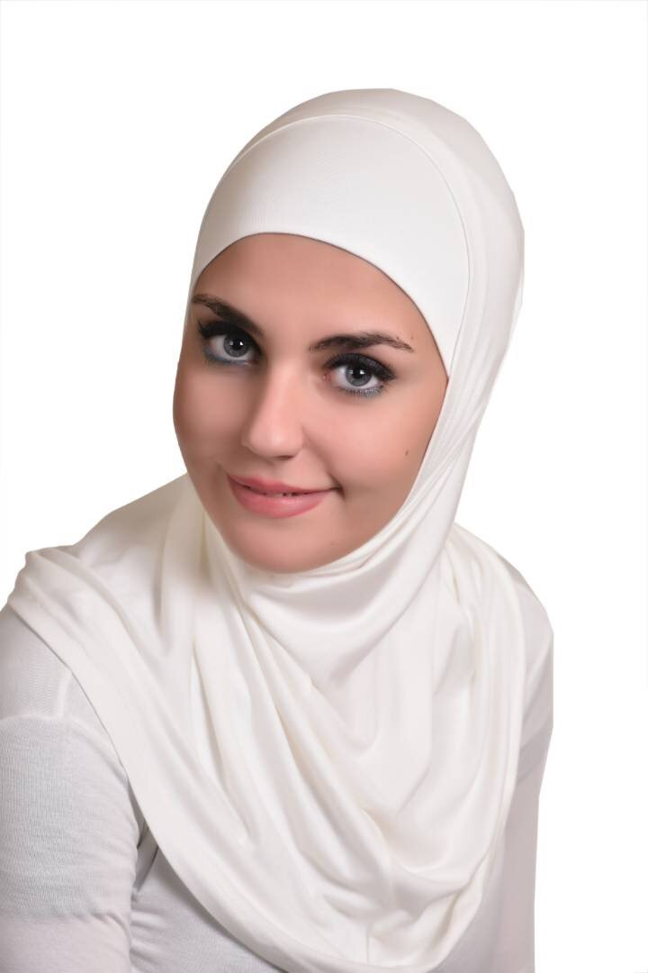 Off white Al Ameera Muslim Hijab Cotton Amira 2 piece Hood & Hijab Tube Underscarf Cap