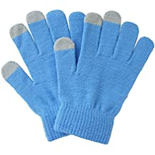 ieasysexy Newest Warmer Winter Knitted Touch Screen Gloves Mittens for Iphone Ipad Tablet (Blue)
