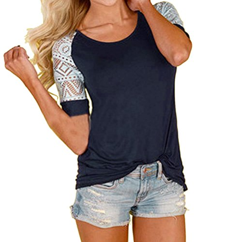 Women's Tee,Neartime Summer Blouse Thin Casual Tops Lace T-Shirt Hot Sale! (M)