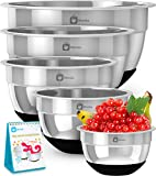 Premium Stainless Steel Mixing Bowls With Non Slip Bottom (Set of 5). Sizes- 8, 5, 3, 1.7, 0.75 QT. For Healthy Meal, Nesting and Stackable . With Special  Bonus- Enjoy Decorated Recipe Book. Monka
