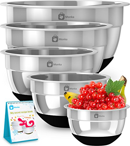 Premium Stainless Steel Mixing Bowls With Non Slip Bottom (Set of 5). Sizes- 8, 5, 3, 1.7, 0.75 QT. For Healthy Meal, Nesting and Stackable . With Special  Bonus- - Steel Stainless Soap Ss