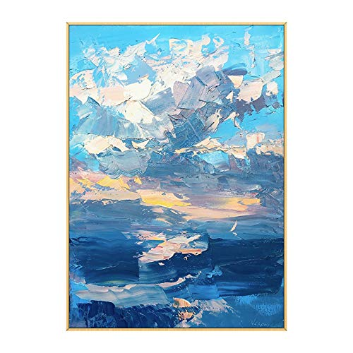 ainted Oil Paintings Hand-Painted Oil Painting Vertical Abstract Cloud Landscape Modern Living Room Decoration Painting Corridor Background Wall Porch Aisle Painting,30×50Cm ()