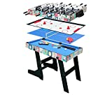 HLC-Table Multi Jeux 4 en 1 Pliante-Table Billard/Babyfoot/Hockey de Table/Ping-pong-121.5*61*81.3