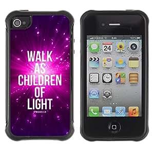 Suave TPU GEL Carcasa Funda Silicona Blando Estuche Caso de protección (para) Apple Iphone 4 / 4S / CECELL Phone case / / BIBLE Walk As Children Of Light - Ephensians 5:8 /