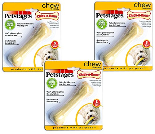 (3 Pack) Chick-a-Bone Chicken Flavored Durable Safe Dog Chew Toy by Petstages, (Chick Dog Toy)