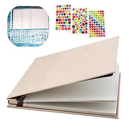 WonderFour Photo Album Self Adhesive, Magnetic Photo Albums for Wedding/Family, Linen Hardcover 40 Sticky Pages Length 11