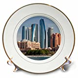 3dRose Danita Delimont - Cities - UAE, Abu Dhabi. Etihad Towers and Emirates Palace Hotel - 8 inch Porcelain Plate (cp_277131_1)