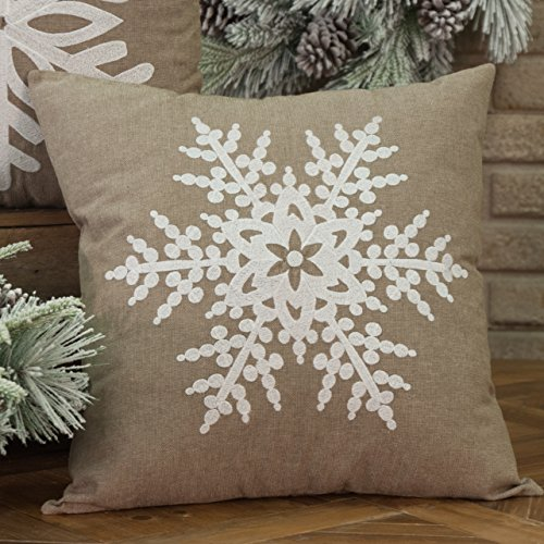 Piper Classics Frosted Snowflake Throw Pillow Cover, 18x18, Beige-Grey w Soft White Embroidery, Christmas Holiday Winter (Pillows Throw Chambray)
