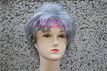 Amazon.com   The old lady wig full wig white hair wig 80-90-year-old  grandmother old all-white wig line for men and women   Beauty 190a93516c