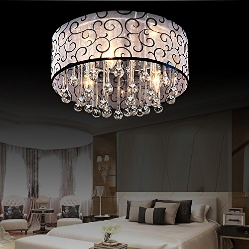 DINGGU™ 4 Lights Flush Mounted Modern Drum Ceiling Light Chandelier Lamp Fixtures Rain Drop Decoration by DINGGU (Image #3)