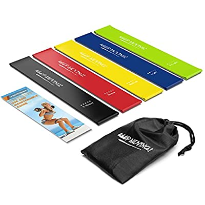 Semx Resistance Bands, [Set of 5] Exercise Bands Resistance Loop Bands for Yoga, Pilates, Physical Therapy, Stretching, Fat Burning Exercises, Home Workouts, Fitness at Gym