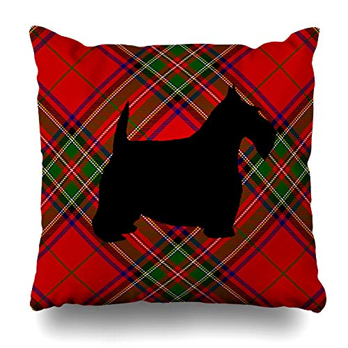 - Ahawoso Throw Pillow Cover Pillowcase Scottie Dog On Plaid Decorative Pillow Case Home Decor 20x20 Square Size Cushion Case