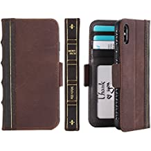 iPhone X Book Case, Miniko(TM) [Book Style] Wallet Book Vintage Case Cover for Apple iPhone X Brown Classic [ Vintage Pattern] [PU Leather][ID Card/Case Slot]