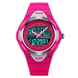 Fanmis Children Boys Girls Digital Analog LED Quartz Alarm Date Waterproof Sports Wrist Watch Dark Pink