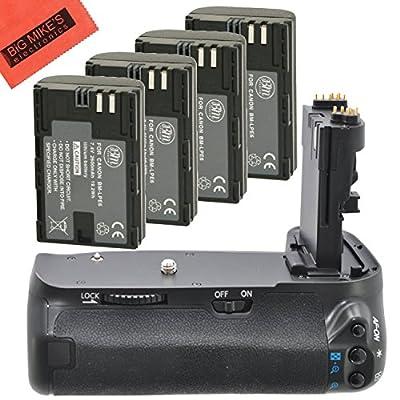 Battery Grip Kit for Canon EOS 70D, EOS 80D Digital SLR Camera Includes BG-E14 Replacement Battery Grip + Qty 4 BM Premium LP-E6 Batteries
