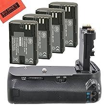Battery Grip Kit for Canon EOS 80D Digital SLR Camera Includes Qty 4 BM Premium LP-E6 Batteries + BG-E14 Replacement Battery Grip