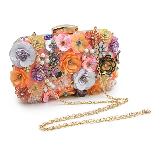 Clutch Flower Evening Colorful Satin Champagne Bag Clutches Women Milisente Sequins t8IqB