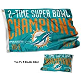 Miami Dolphins Double Sided 2 Time Super Bowl Champions Flag
