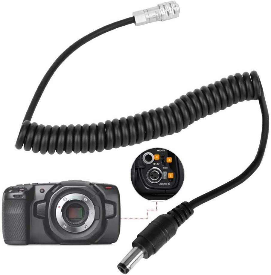 DC to 4K Power Cable 2Pin Plug Power Coiled BMPCC 4K D Tap Power Cable for Blackmagic Pocket Cinema 4K Camera Elbow Head