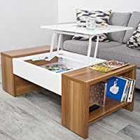 MIX High Gloss Lacquer Laminate Wood Walnut/White Lift-Top Rectangular Coffee Table with Hidden Storage and Side Cubby