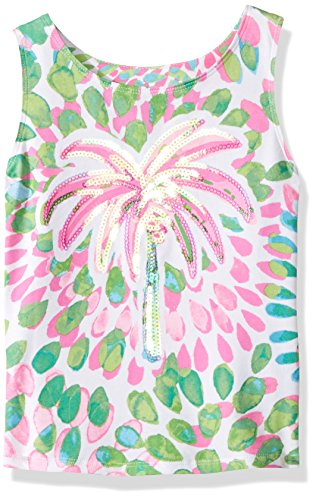 Kate Mack Girls' Little Island Hopping Palm Tree Tee, Multi, 6