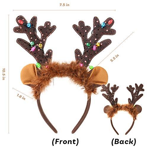 HANSGO Reindeer Antlers Headband, LED Deer Antlers Headband with Bells Light Up Christmas Reindeer Ears Headband