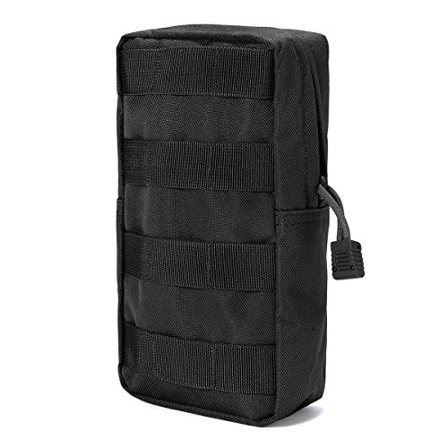 (FUNTOK Molle Pouches, Molle Tactical Compact Pouch Attached Utility Tactical Pockets Outdoor Sports Bag (Black) )