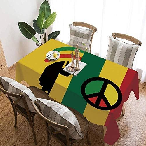 ラスタ 綿麻 テーブルクロス 146×146cm 象徴的なバレエ・レゲエとジャマイカ音楽文化の平和のシンボルと罫線の飾り付き 厚手 綿麻汚れ防止 家庭用 業務用 長方形