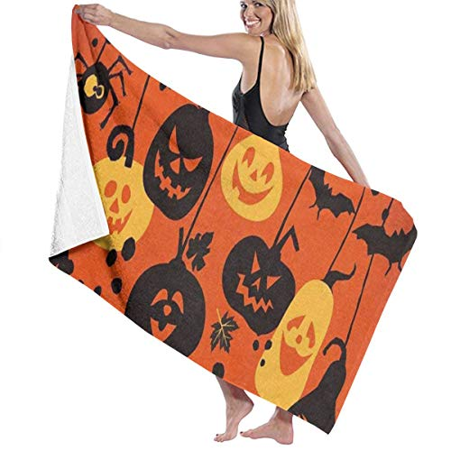Beach Bath Towel Happy Halloween Cheerful Pumpkins Personalized