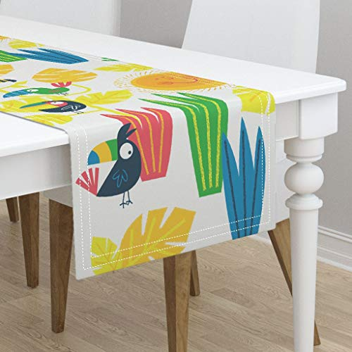 - Table Runner - Tropical Bird Kawaii Paradise Palm Leaves Animal Botanical Gender Neutral Boho by Edward Elementary - Cotton Sateen Table Runner 16 x 90