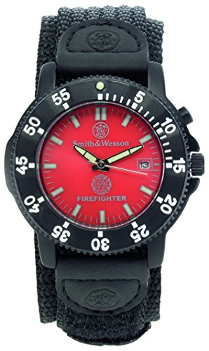 Smith & Wesson Men's SWW-455F Fire Fighters Red Dial Black Band Watch