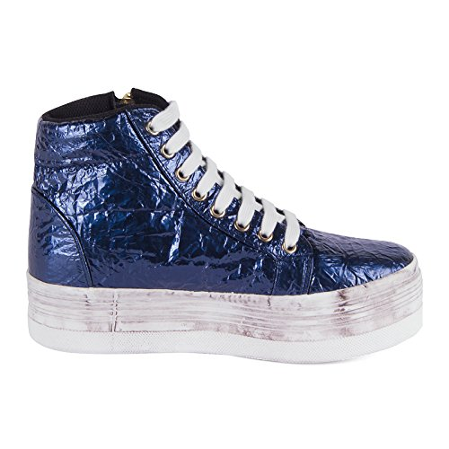 Jeffrey Campbell JC PLAY HVEEKZIPPER W, Sneaker donna, Blu (BLUE/SILVER), 41